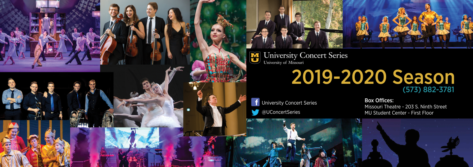 Collage of images from the 2019-2020 season of the University Concert Series